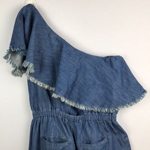 6fe211bba18 Blank NYC Pants - Blank NYC One Shoulder Frayed DenimRuffle Jumpsuit